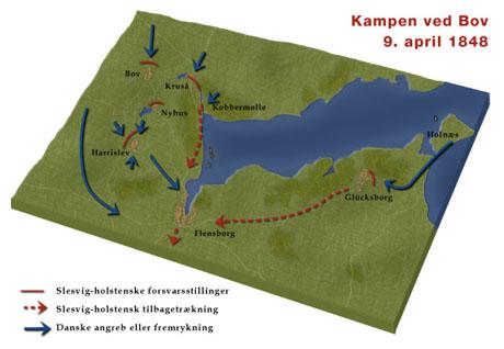 Kort over kampen ved Bov (grafik: Gert Laursen)