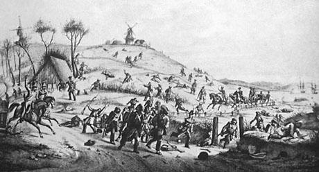 Scene fra slesvig-holstenernes tilbagetog langs kysten. I baggrunden ses de danske krigsskibe beskyde dem.