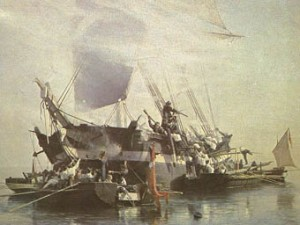 En engelsk brig angribes af danske kanonbåde