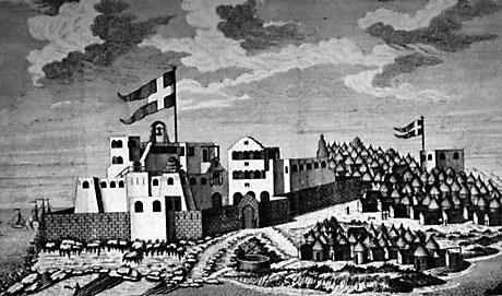 Christiansborg 1750. Tårnet til højre for Christiansborg er vagttårnet  Prøvesten bygget i 1729. Landsbyen til højre er Orsu.  (University of Virginia)