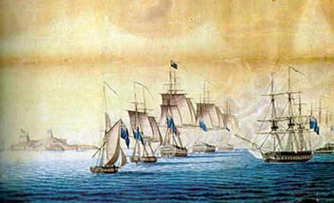 Engelske skibe bombarderer Christiansø