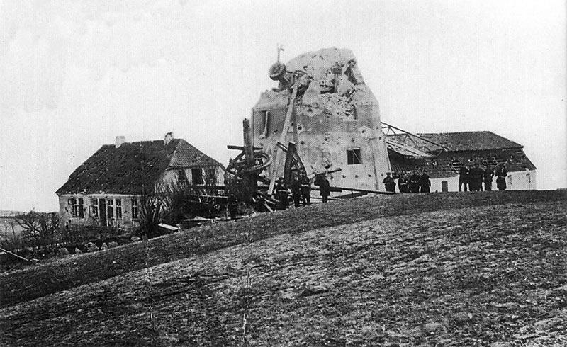 Dybbøl Mølle efter kampen. Krigen i 1864