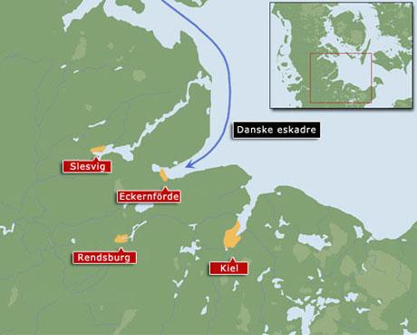 Kort over området omkring Eckernförde