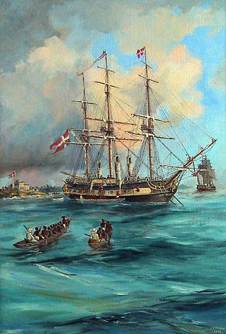 Slaveskibet Fredensborg ud for Christiansborg