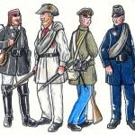 """Tyske frivillige. Medlem af studenter korpset, medlem af """"Turner"""" korpset, frivillig fra 2. Frikorps og frivillig fra Braunschweig. (tegninger Jan Schlürmann)"""