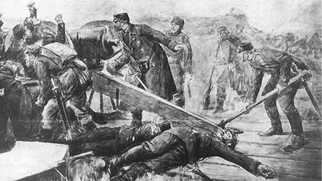 Kaptajn Hertel i en skanse under det preussiske angreb på Mysunde i Krigen i 1864