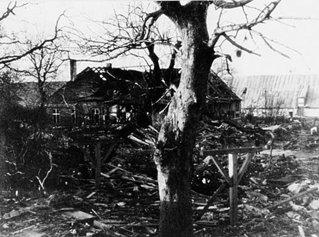 De voldsomme ødelæggelser efter eksplosionen (foto: Orlogsmuseetssamling)