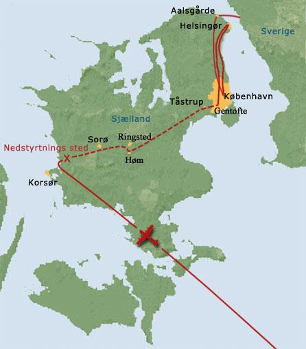 Kort over Sjælland og Donald Smiths flugtrute