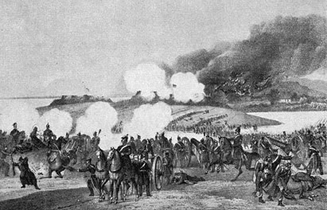 Preussisk skildring af kampen ved Mysunde i Krigen i 1864