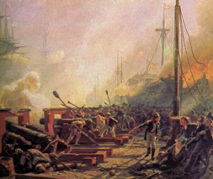 Et af de danske flydende batterier under Slaget på Reden