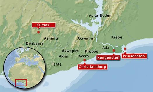 Ashanti-rigets magtbase var hovedstaden Kumasi, som lå ca. 200 km inde i landet. Slaget ved Dodowa foregik ca. 60 km nordvest for Christiansborg i Akwapim-folkets land. Det engelske fort James ligger i umiddelbar nærhed af Christiansborg, som også de dansk-loyale landsbyer gjorde.