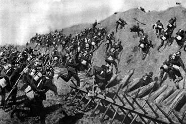 Et preussisk angreb på en af de danske skanser