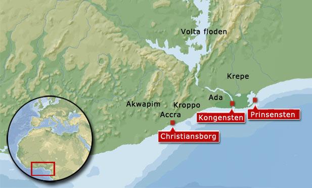 Feltoget startede ved Ada/Kongensten og det første slag mod Awuna fandt sted ved landsbyen Atokko ca. midt mellem Kongensten og Prinsensten. Det endelige slag mellem den danske hær og Awunaerne fandt sted i området nord-øst for Prinsensten.