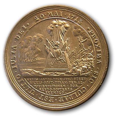 Medalje præget til erindring den svenske Marskal Stenbocks overgivelse af Tønning 20. maj 1713.
