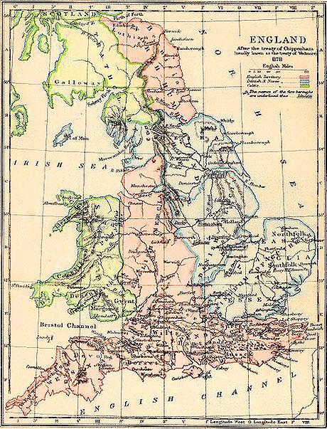 Kort over vikingetidens England og Wales. Pink er angelsaksere, blå er vikinger/skandinaver og grøn er keltere. Grænserne var flydende, så kortet viser kun en omtrentlig situation op mod år 900.