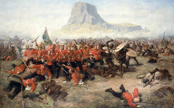 Episode fra Zulu krigene. (maleri af Charles Edwin. Fra Wikipedia)