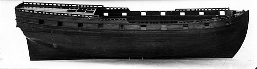 """Skrogmodel af """"Postillion"""" hvor Tordenskjold var næstkommanderende. (foto: Orlogsmuseet)"""