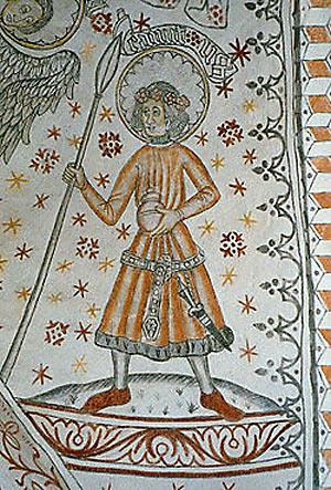 Knud Lavard på kalkmaleri i Vigerslev Kirke (Wikipedia)