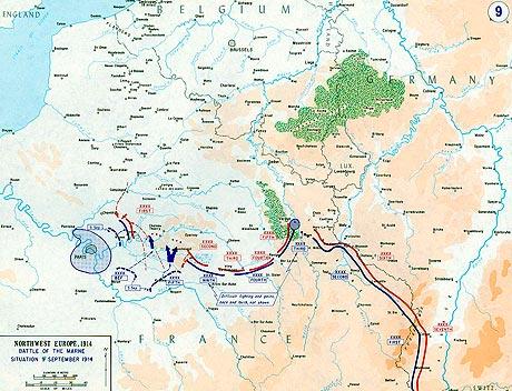 Slaget ved Marne. Klik her for at se et større kort. (fra Wikipedia)