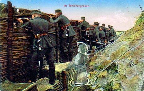 """""""I skyttegraven"""" (fra et tysk postkort)"""