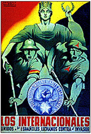 International Brigade plakater taler om solidaritet mellem de internationale og spanierne.