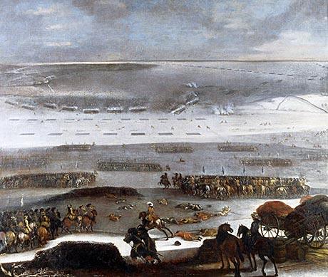 Den svenske hær krydser isen (Wikipedia. Maleri af Johan Phillip Lembke)
