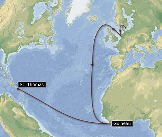 """Christianus Quintus"" rute til St. Thomas (grafik: Gert Laursen)"