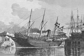 Det danske troppeskib AURORA afsejler til krigen