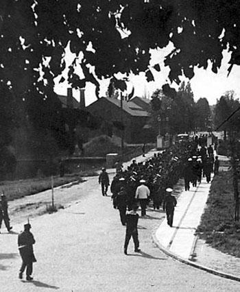 Danske orlogsgaster under tysk vagt.  (Marinens Bibliotek)