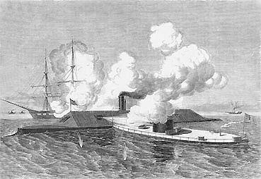 Panserskibet U.S.S. MONITOR vædrer VIRGINIA
