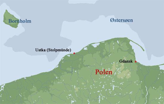 Stolpmünde hedder i dag Ustka og ligger i Polen, ca. 100 km vest for Gdynia