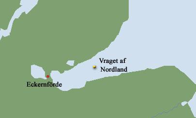 Vraget af Niels Juel ligger på 59o 29,00' Nord - 009o 58,00' Øst