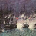 Orlogsskibet Prinds Christian Frederik i kamp med engelske krigsskibe ved Sjællands Odde
