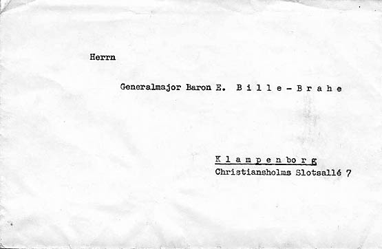 Hannekens brev til Generalmajor Bille Brahe (fra Preben Bille Brahe)