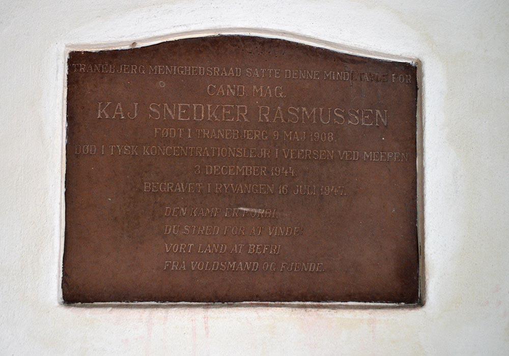 Mindetavle for Kaj Snedker Rasmussen