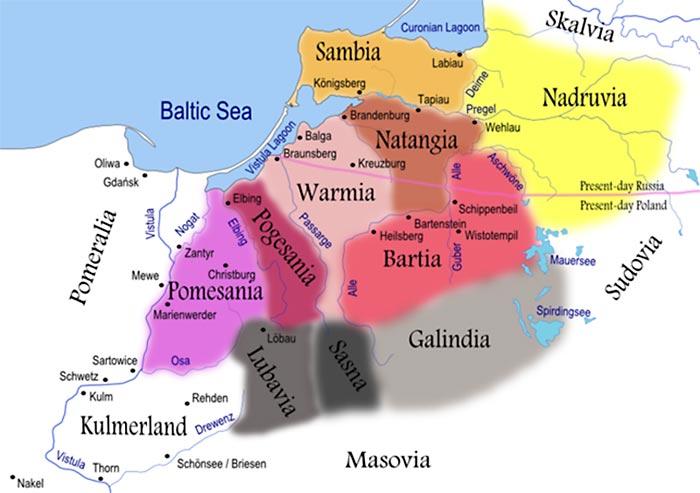 Omtrentligt omfang af de prusiske klaners bosættelsesområde. Wikipedia Commons/Renata3, baseret på Altpressische Landschaften 13. Jahrhundert