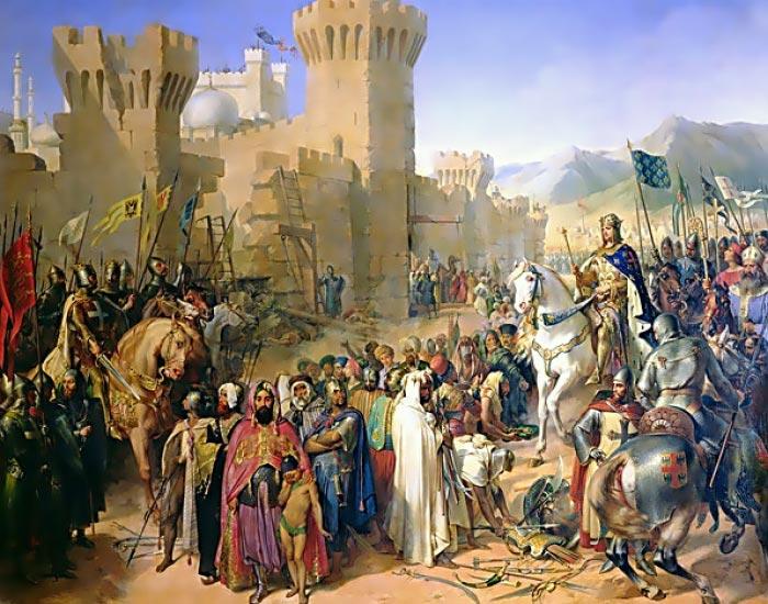 """""""Ptolemais (Acre) given to Phillip Augustus 1191"""", af Merry-Joseph Blondel. De to års belejring af fæstningen kostede tusindvis af danskere livet under det 3. korstog (Wikimedia Commons)"""
