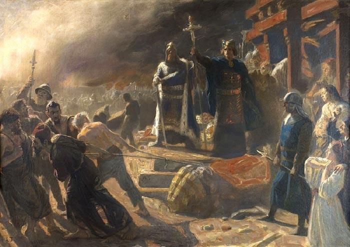 Laurits Tuxens maleri fra 1894 af erobringen af Arkona og guden Svantevits fald.