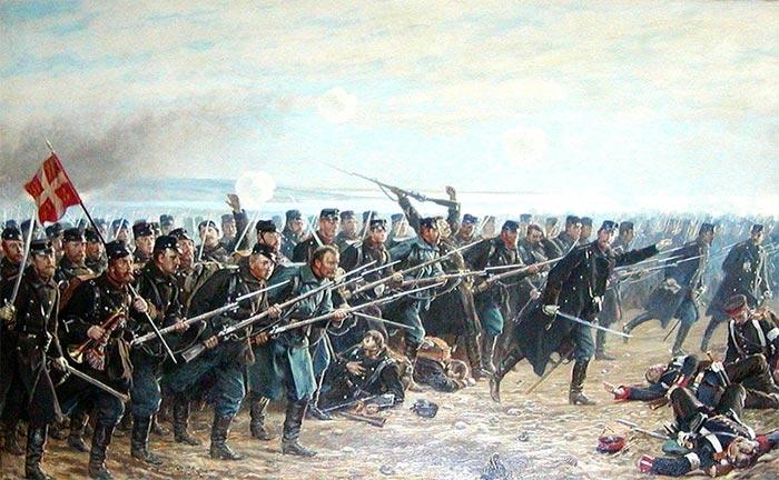 8. Brigades modangreb ved Dybbøl den 18. april 1864. Udsnit af et maleri af Vilh. Rosenstand, der selv deltog i krigen som løjtnant.. Læg mærke til hornblæseren med fanen. Det kan udmærket være en af musikerne fra et af brigadens feltmusikkorps.