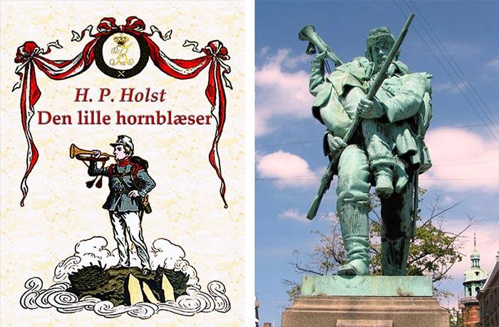 Forsiden til digtet 'Den lille hornblæser' af Holst, der inspirerede billedhuggeren H.P. Pedersen til monumentet med samme navn. Det blev opstillet på Rådhuspladsen i 1899.