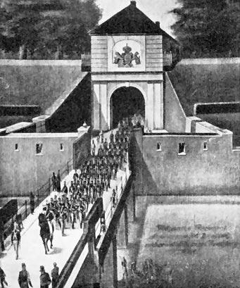 Et regiment rykker ud af fæstningen i Rendsborg. (Foto fra Lindhardt 'Klingende Spil' Kbh. 1932)