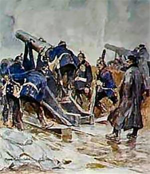 Preussiske artillerister 1864 i færd med at lade og indstille en af de svære belejringskanoner.