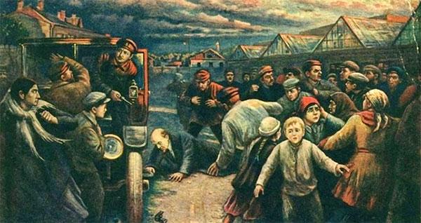 Viktor Pchelins billede fra 1927 (Wikipedia), der viser den socialrevolutionære Fanny Kaplans attentat mod Lenin d. 30. august 1918. Mange forbitredes over, hvad de så som Lenins forræderi mod revolutionen. Den efterfølgende borgerkrig kostede op mod 8 millioner mennesker livet.