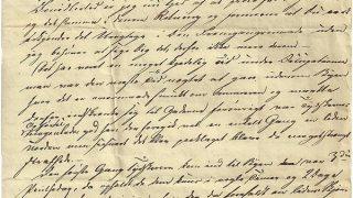 Brevet fra fra Laurs Bruun Kaas til hans søn Andreas Jørgen Christian Kaas.