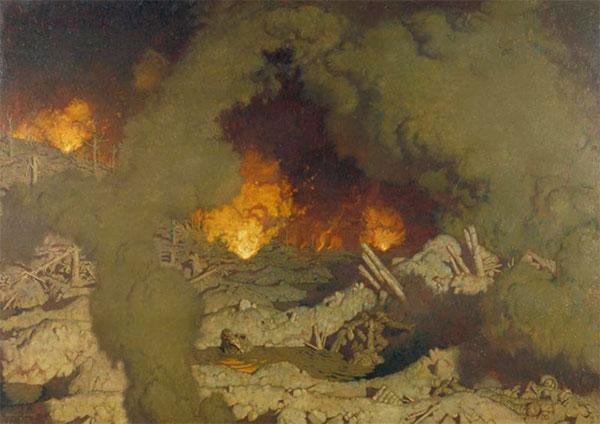 """Kunstneren George Leroux malede billedet """"L'Enfer"""" (Helvede) i 1921, inspireret af egne krigsoplevelser fra Nordfrankrig og Belgien. De splintrede træstumper, sprudlende flammer og kvælende røg demonstrerer den industrialiserede krigs ødelæggelseskraft (Wikicommons)."""