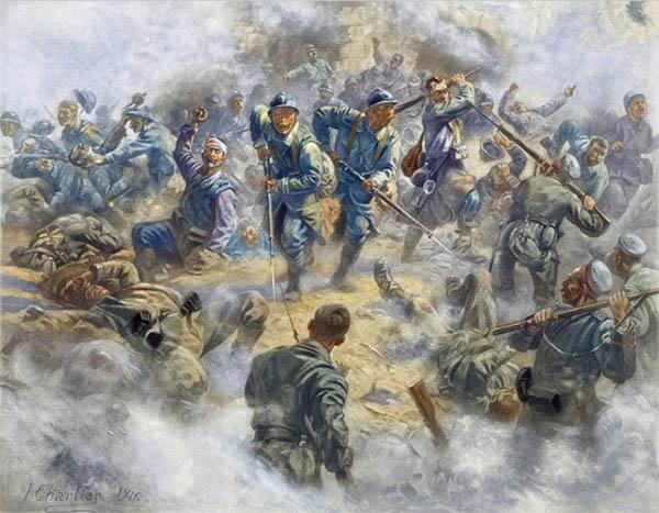 """""""Reprise Du Fort De Douaumont Par L'Infanterie Francaise, 1916"""", franskmændene generobrer Fort Douaumont (Wikipedia), Henri Georges Jacques Chartier (1859-1924)"""