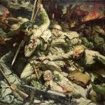 """""""The Welsh at Mametz Wood"""" (Wikipedia) af Christopher Williams, 1918. Intenst billede af nærkampen, når det først var lykkedes at komme ind i fjendens skyttegrav. Efter en ødelæggende granatregn tog danske sønderjyder i tysk uniform tilhørende Regiment 86 og Reserve-Regiment 86 mod lignende britiske og franske stormangreb i september og oktober 1916 i Somme-slaget."""