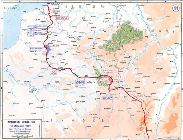 Kortet viser kampområdet ved Verdun, markeret med rødt, og kampområdet ved Somme, markeret med blåt. Regiment 86 blev indsat på den sydlige del af Somme, Reserve-Regiment 86 på den nordlige del af den centrale Somme-front. Regiment 84 kæmpede på den nordlige side af Verdun.