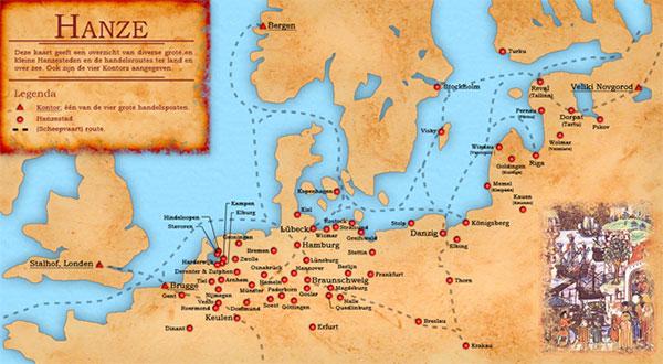 Kort over den hanseatiske ligas udstrækning og dens primære handelsruter; det var ikke tilfældigt, at Sydnorge, som handelsmæssigt trafikknudepunkt i Nordsøen, blev opsøgt af kaperen Claus Kniphof. Wikipedia/Doc Brown