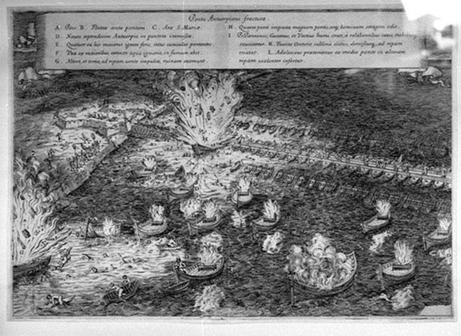 """Lübecks desperate forsøg på at ødelægge Rantzaus bro over Trave var afgørende. Her billede af hollændernes angreb med ildskibe mod spaniernes belejringsbro ved Antwerpen 1585. """"Hellburners at Antwerp"""", Fabiano Strada (wikipedia)."""